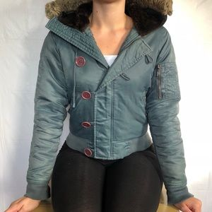 Blue-gray JUICY COUTURE button-up jacket.
